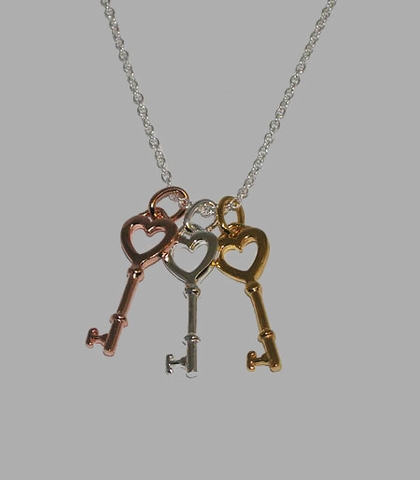Three-tone Triple Key Silver Necklace