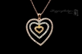 Tricolor Gold-Plated Silver CZ Triple Heart Pendant