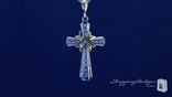 Two Tone Cross Pendant Necklace in 14k Gold & Sterling Silver, 18 inch