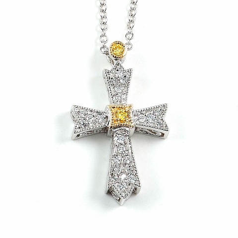 Two Tone Cross Pendant Necklace in 14k Gold & Sterling Silver, 18 inch - Free Shipping | ShoppingBadger.com