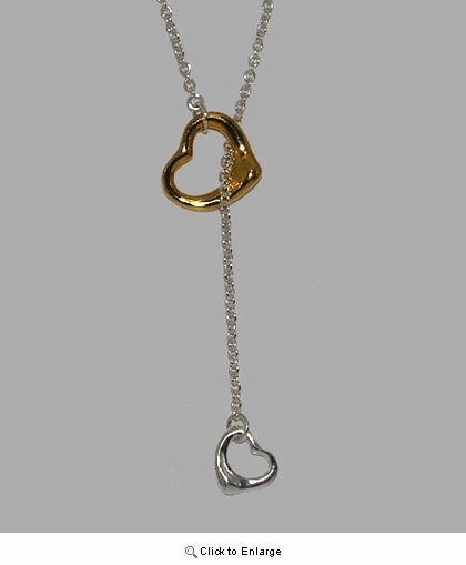 Two-tone Double Silver Hearts Lariat Necklace