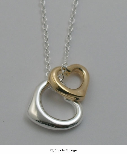 Two-tone Double Silver Hearts Necklace