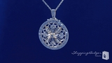 """Two Tone Filigree Circle Pendant Necklace in Sterling Silver, Adjustable 16""""-18"""""""