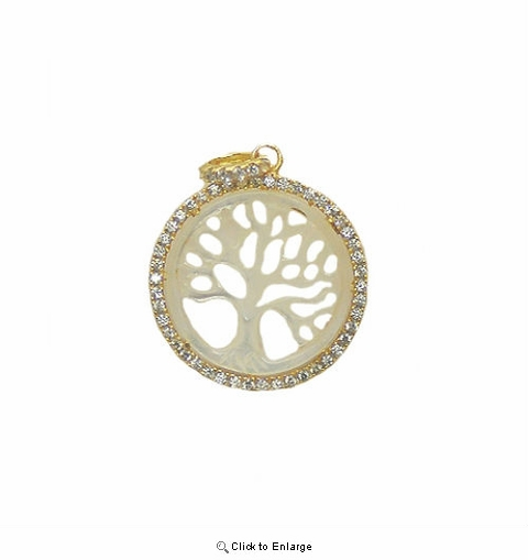 Two Tone Gold Vermeil and CZ Tree of Life Pendant