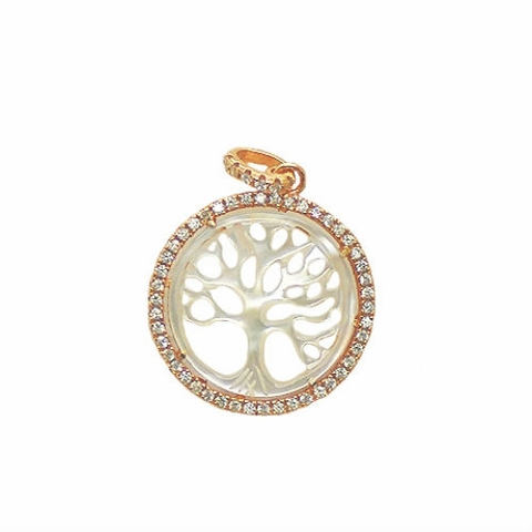 Two Tone Rose Silver and CZ Tree of Life Pendant
