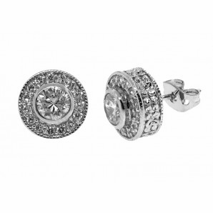 Sterling Silver Round CZ Stud Earrings - Free Shipping|ShoppingBadger.com