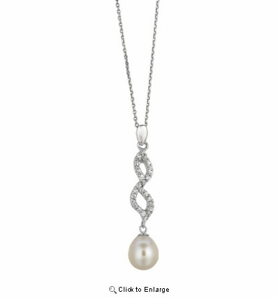 "Vintage Style CZ Pearl Drop Necklace in Sterling Silver, 16""-18"""