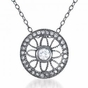 Vintage Style Filigree Art Deco C.Z. Black Plated Sterling Silver Round Pendant