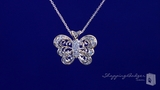 "Vintage Style Pave CZ Butterfly Necklace in Sterling Silver, Adjustable 16""-18"""