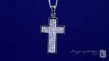 White Crystal Cross Necklace in Sterling Silver, 18""