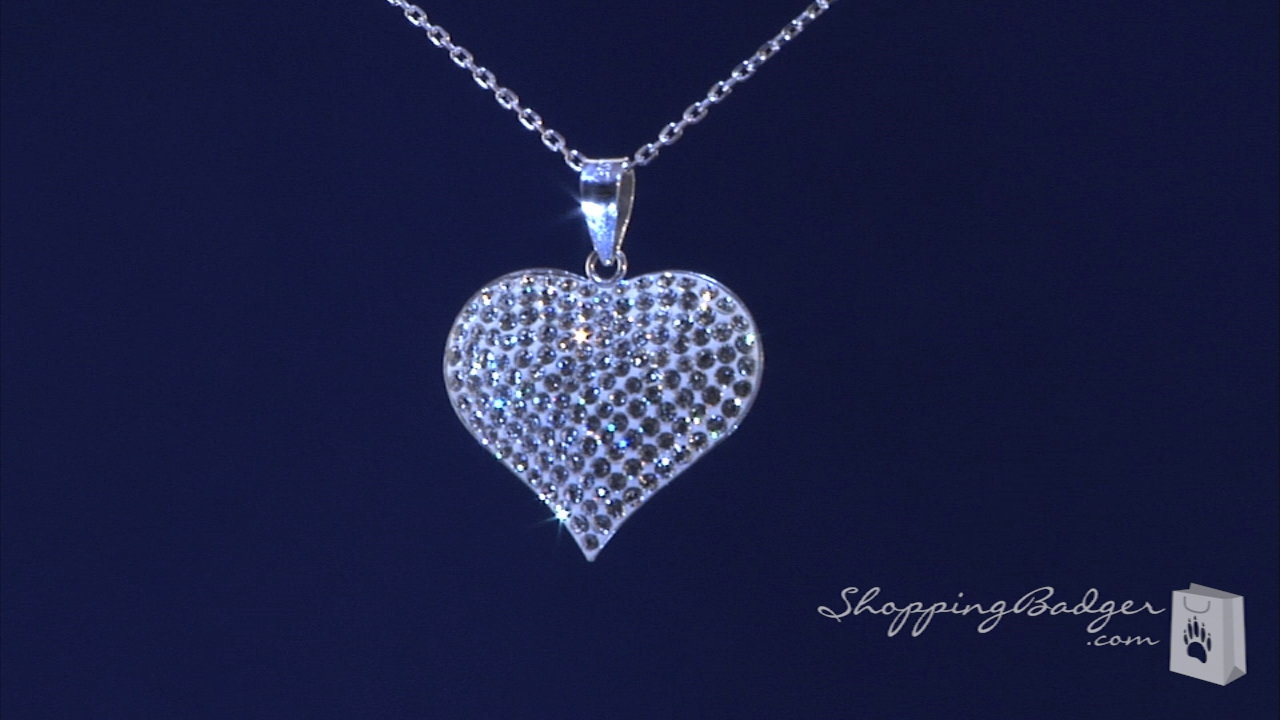 White Crystal Puffed Heart Necklace In Sterling Silver 16