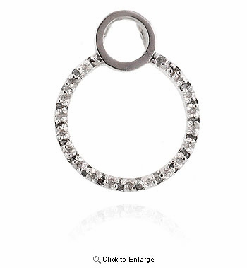 White Gold Plated Circle Pendant with CZs