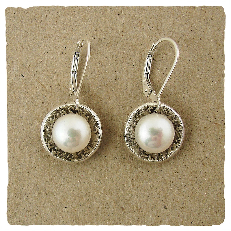 White Pearl in Decorated Oxidized Oval Cup Sterling Earrings