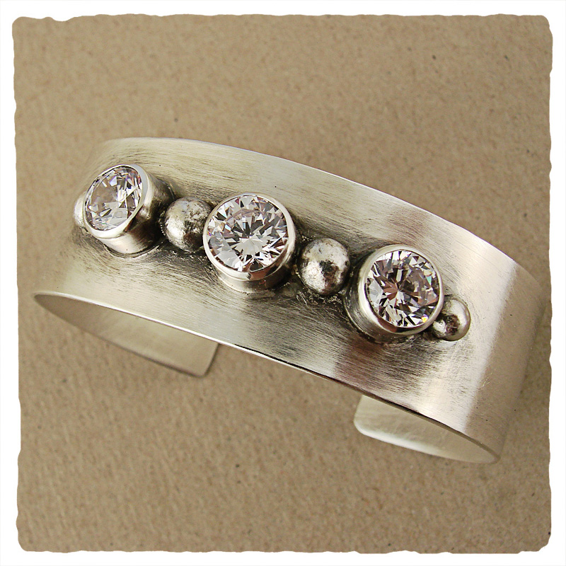 Wide Silver Cuff with CZ and Silver Balls