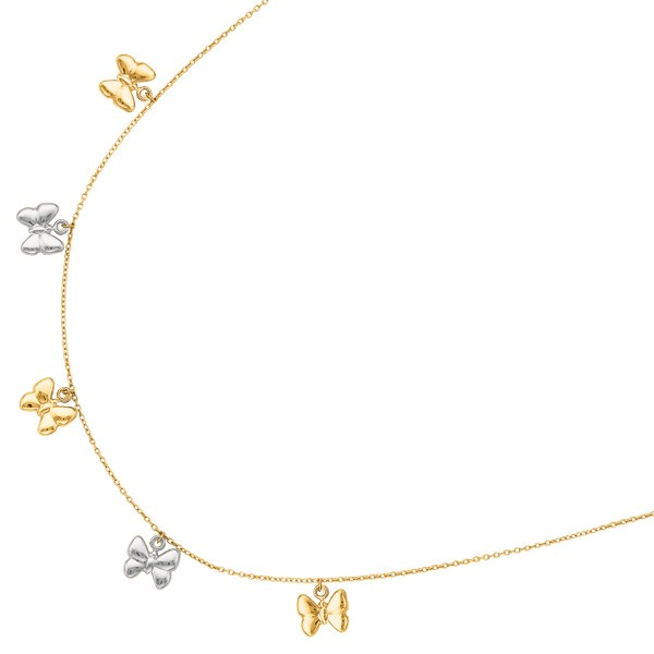 Yellow and White Gold Drop Butterfly Charm Necklace