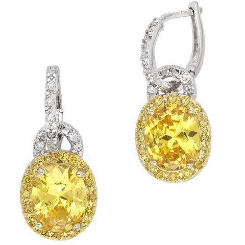 Yellow Canary CZ Oval Hoop Earrings