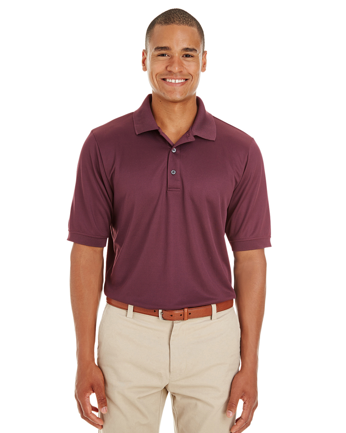 Men's Textured Athletic Mesh Polo Shirt