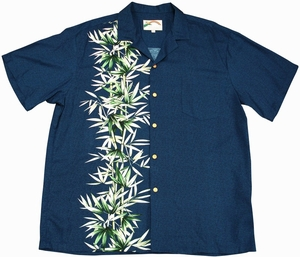 Bamboo Panel<br>Men's Hawaiian shirts<br>Matching chest pocket<br>100% Rayon<br>