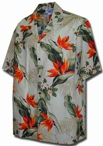 Bird of Paradise<br>Men's Aloha shirt<br>Matching chest pocket<br>100% Cotton<br>