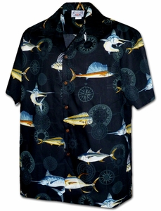 Blue Marlin<br>Men's Hawaiian shirts<br>Matching chest pocket<br>100% Cotton<br>