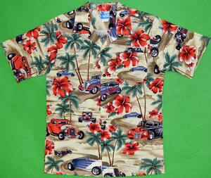 Hot Rod and Hibiscus<br>Boys Hawaiian Shirts<br>Matching Chest Pocket<br>100% Cotton<br>