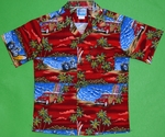 Woodie & Motorcycles<br>Boys Hawaiian Shirts<br>Matching Chest Pocket<br>100% Cotton<br>