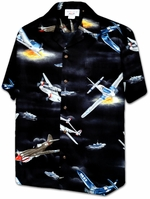 Fighter Plane-WW II<br>Hawaiian Camp Shirts<br>Matching chest pocket<br>100% Cotton<br>