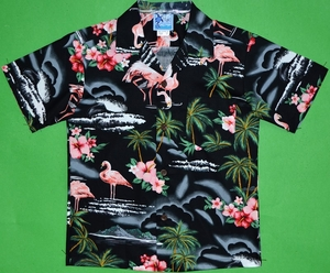 Flamingo Hibiscus<br>Boys Hawaiian Shirts<br>Matching Chest Pocket<br>100% Cotton<br>