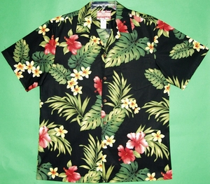 Floral Hibiscus<br>Men's Hawaiian Shirt<br>Matching Chest Pocket<br>100% Cotton<br>