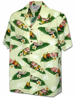 Fresh Sushi<br>Men's Hawaiian shirts<br>Matching chest pocket<br>100% Cotton<br>