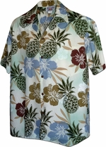 Hawaiian Pineapple<br>Hawaiian Shirts<br>Matching chest pocket<br>100% Cotton<br>