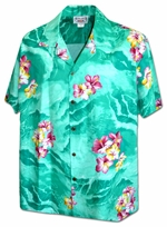 Hibiscus Flowers<br>Men's Hawaiian shirts<br>Matching chest pocket<br>100% Cotton<br>