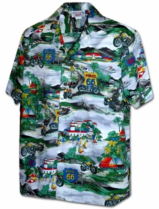Motorcycle Route 66<br>Men's Hawaiian shirts<br>Matching chest pocket<br>100% Cotton<br>