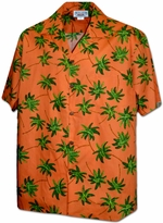 Palm Wave<br>Men's Hawaiian shirts<br>Matching chest pocket<br>100% Cotton<br>
