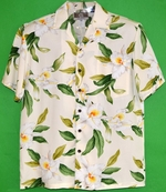 White Orchid Flowers<br>Men's Hawaiian Shirt<br>Matching chest pocket<br>100% Rayon<br>