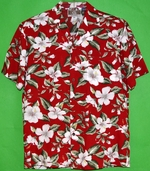 White Hibiscus Flower<br>Men's Hawaiian Shirt<br>Matching chest pocket<br>100% Rayon<br>