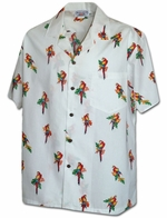 Aloha Parrot<br>Men's Hawaiian shirts<br>Matching chest pocket<br>100% Cotton<br>