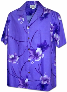 Aloha Hibiscus<br>Men's Hawaiian shirts<br>Matching chest pocket<br>100% Cotton<br>