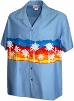 Sunset Palm Trees<br>Men's Hawaiian shirts<br>Matching chest pocket<br>100% Cotton<br>