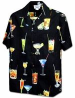 Mai Tai Cocktail<br>Men's Hawaiian shirts<br>Matching chest pocket<br>100% Cotton<br>