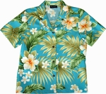 Hibiscus Summer<br>Women's Hawaiian Shirt<br>100% Cotton<br>
