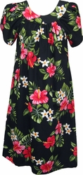 Hot Pink Hibiscus<br>Hawaiian Muumuu Dress<br>100% Cotton<br>
