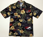 Hot Rod and Hibiscus<br>Men's Hawaiian Shirt<br>Matching chest pocket<br>100% Cotton<br>
