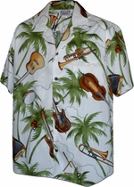 Jazzy Ukulele<br>Mens Hawaiian Shirts<br>Matching chest pocket<br>100% Cotton<br>
