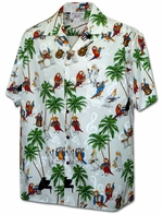 Parrot Play Music<br>Men's Hawaiian shirts<br>Matching chest pocket<br>100% Cotton<br>