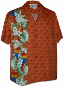 Rainbow Parrot Panel<br>Mens Hawaiian Shirts<br>Matching chest pocket<br>100% Cotton<br>