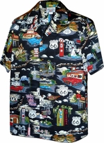 Route 66<br>Mens Hawaiian Shirts<br>Matching chest pocket<br>100% Cotton<br>
