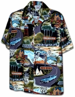 Route 66 USA<br>Mens Hawaiian Shirts<br>Matching chest pocket<br>100% Cotton<br>