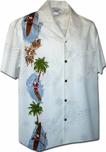 Santa Hawaiian Shirts<br>Holiday Hawaiian Shirt<br>Matching chest pocket<br>100% Cotton<br>
