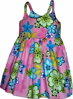 Waikiki Garden<br>Girls Hawaiian Dress<br>100% Cotton<br>